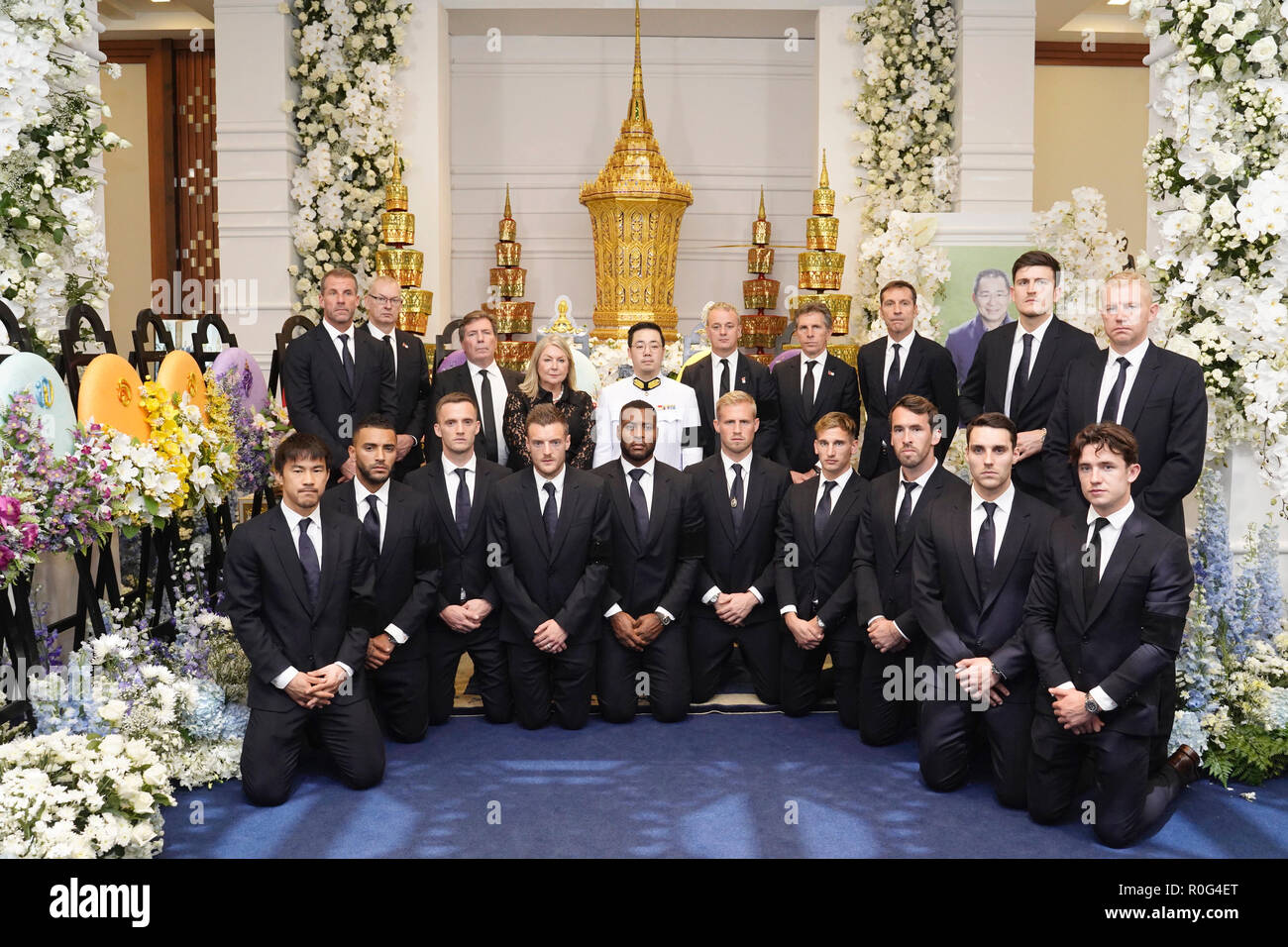 Bangkok, Thailand. 04th Nov, 2018. Leicester City players arrive at Wat Thepsirin to a funeral of Vichai Srivaddhanaprabha, late chairman of Leicester City Football Club in Bangkok, Thailand. Credit: King Power/Pacific Press/Alamy Live News - Stock Image