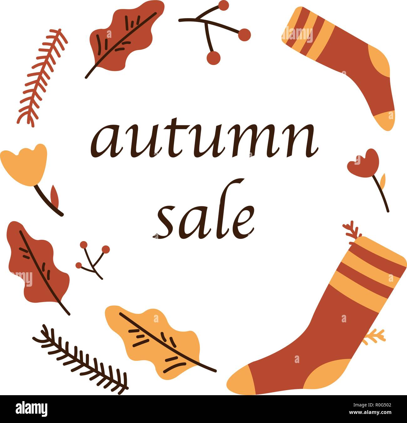 Autumn sale poster of discount promo web banner for autumnal seasonal shopping of maple leaf, rowan berry or oak. Vector design template, shop offer template advertising. - Stock Vector