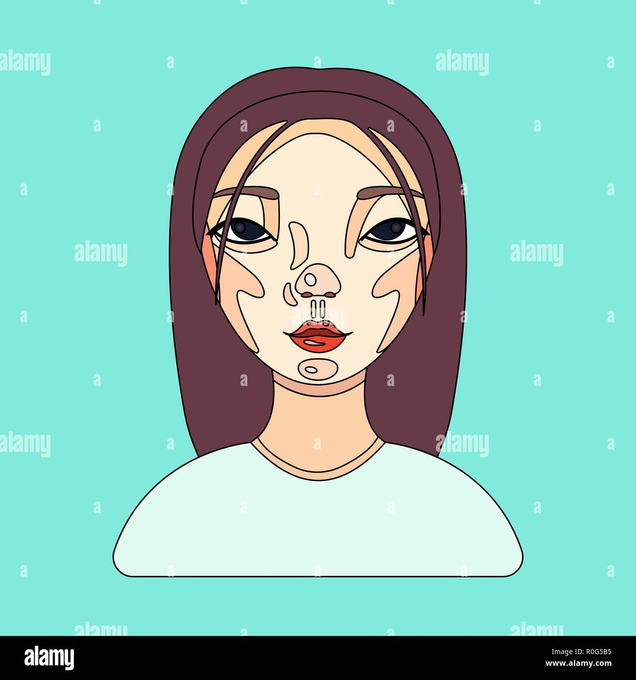 Female user avatar of businesswoman  Icon of cute girl face  Flat