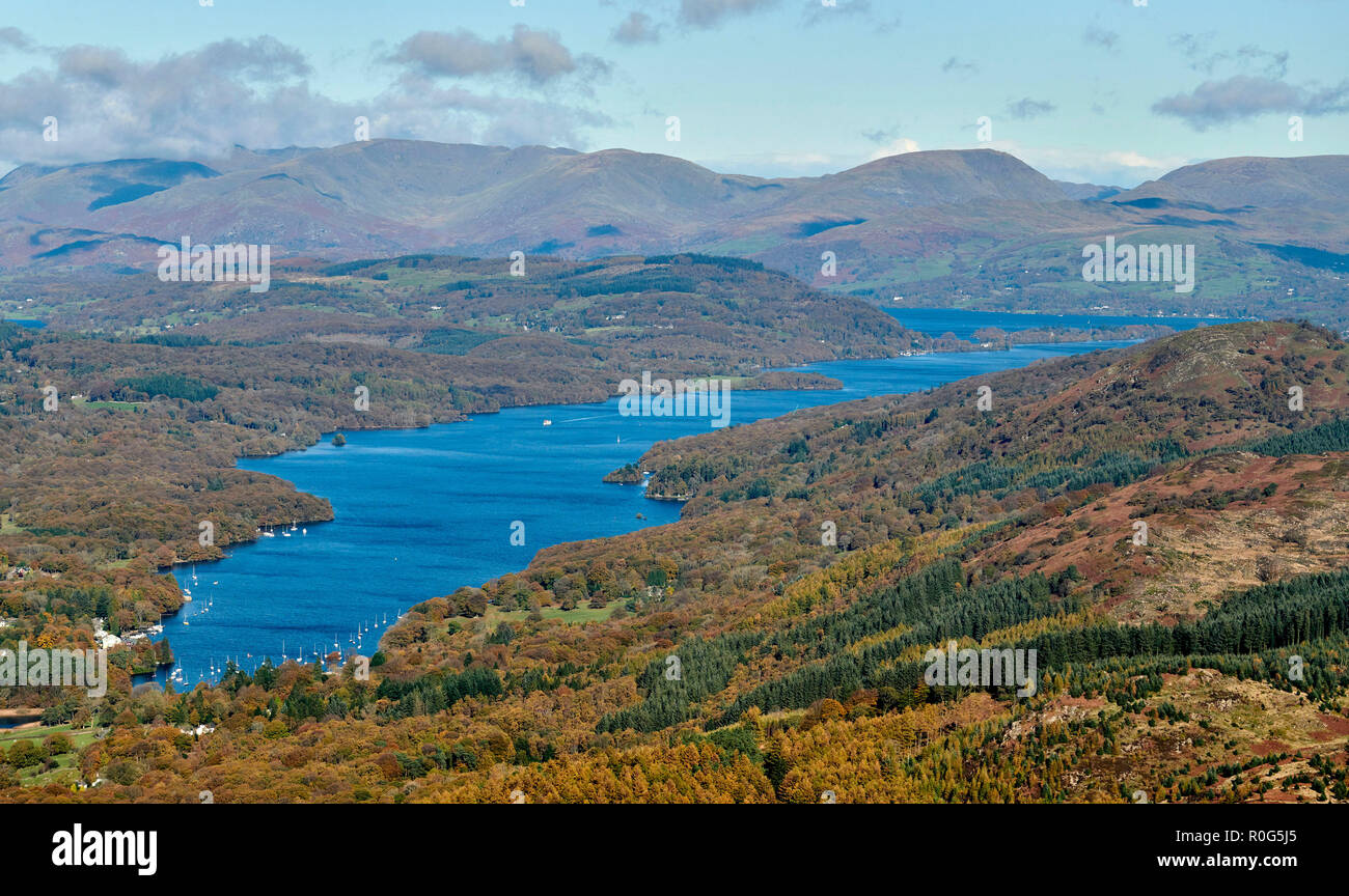 An aerial view of Lake Windermere, Lake District National Park, North West England, Northern England, UK - Stock Image