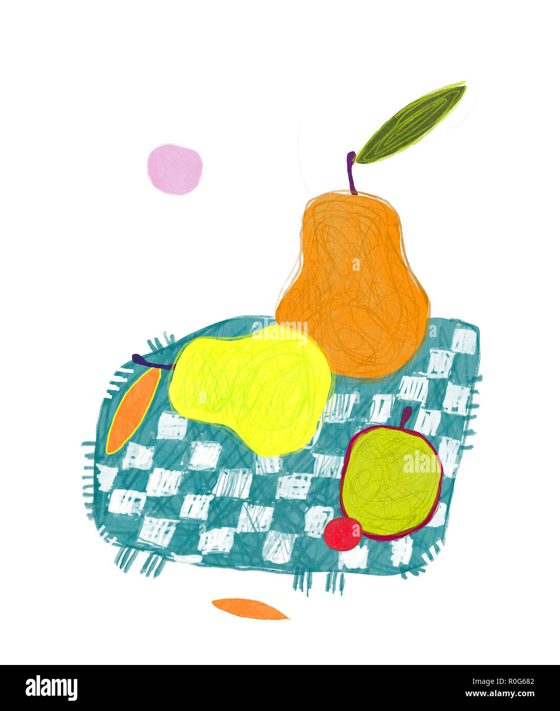 Decorative still life with pears, apple and plum. Illustration in naive style. - Stock Image