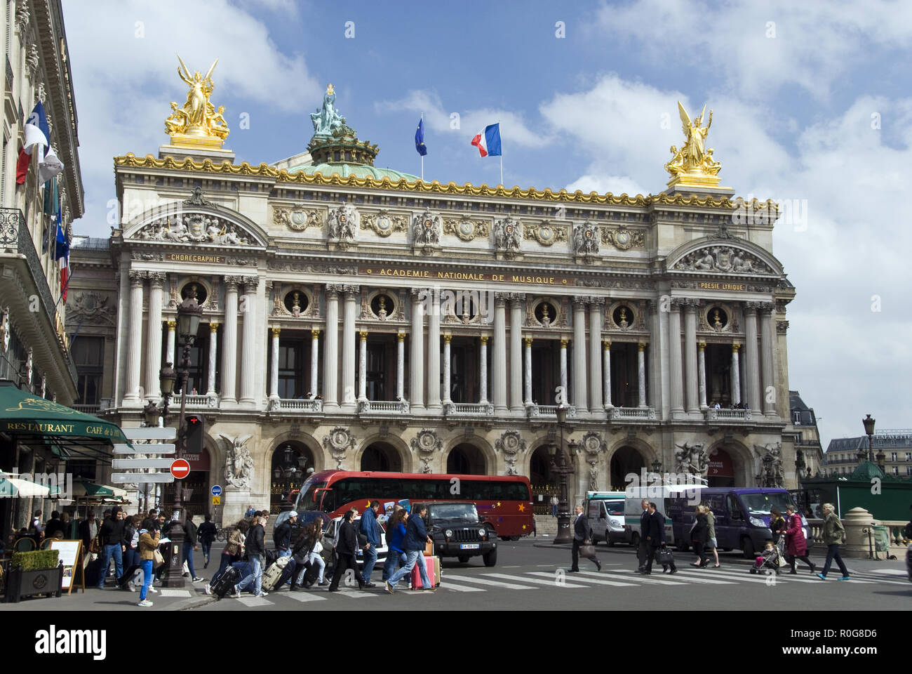 The Palais Garnier (Garnier Palace) opera house, famous as the setting for Gaston Leroux's 1910 novel 'The Phantom of the Opera,' Paris, France. - Stock Image