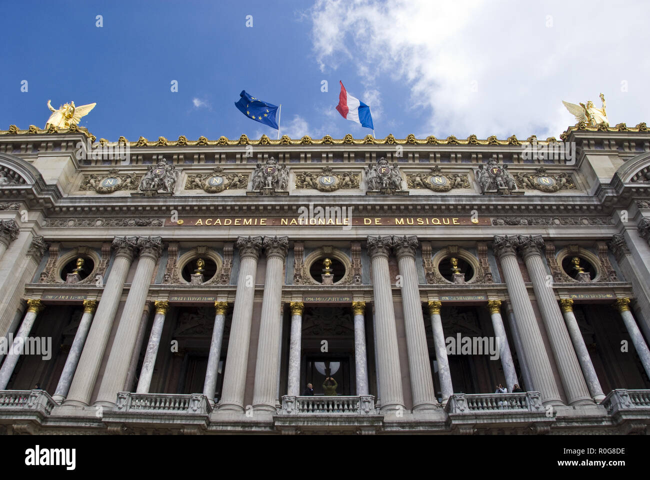 "The Palais Garnier (Garnier Palace) opera house, famous as the setting for Gaston Leroux's 1910 novel ""The Phantom of the Opera,"" Paris, France. Stock Photo"