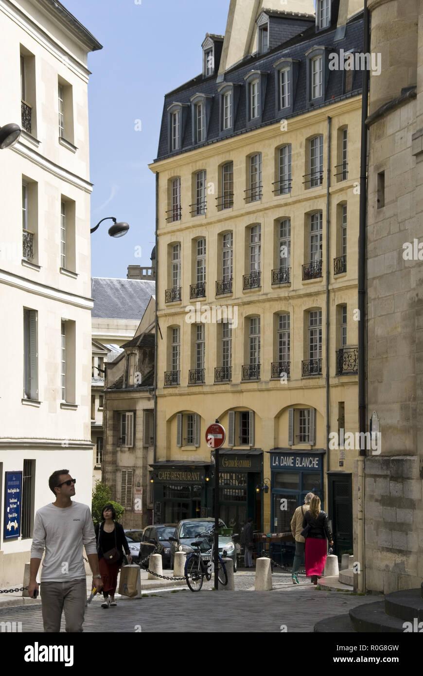 "Rue de la Montagne Sainte-Genevieve, a movie location for Woody Allen's film, 'Midnight in Paris,"" near the Pantheon, Latin Quarter, Paris. - Stock Image"