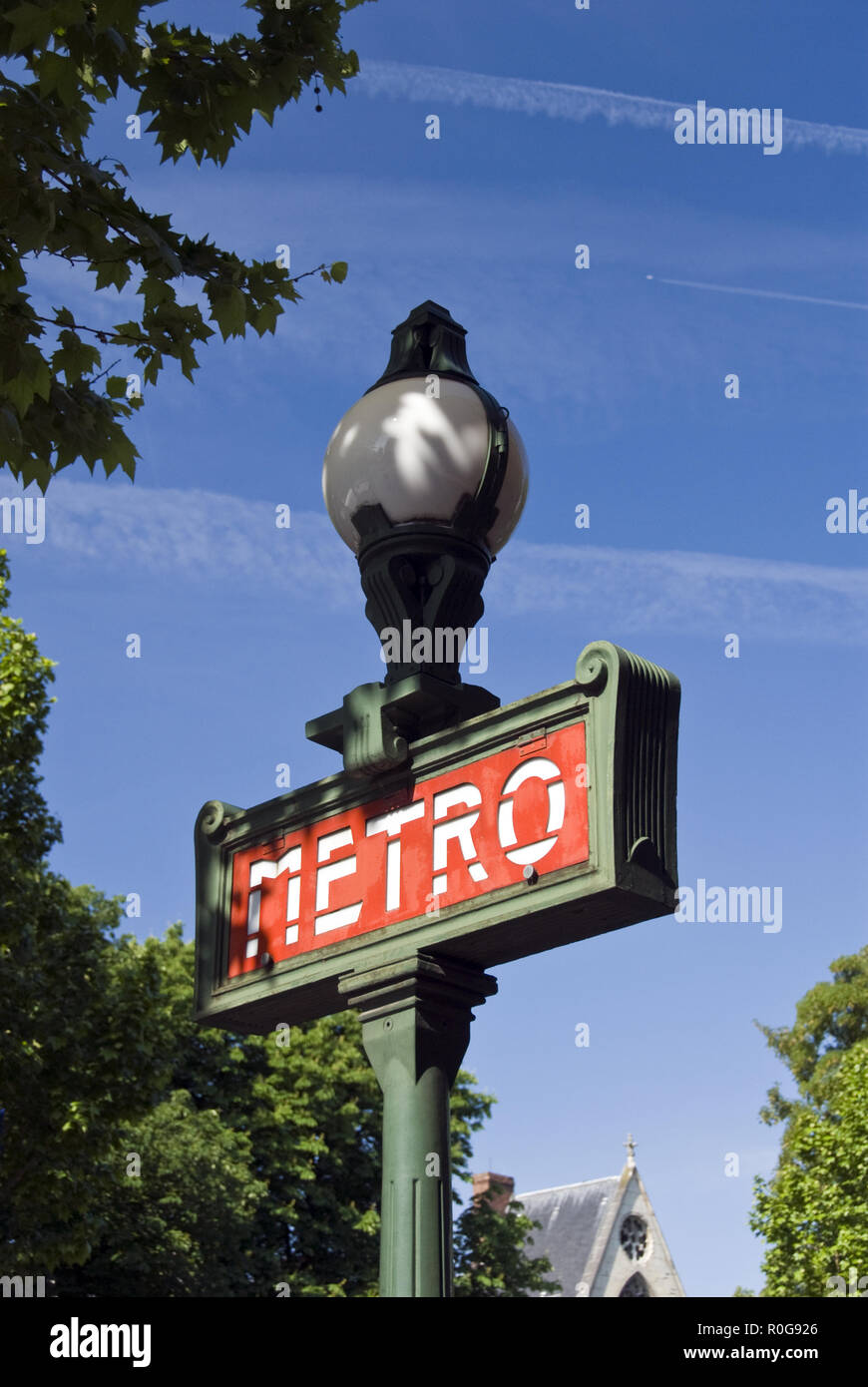 A colorful Metro (subway) sign and lamp on the Boulevard Saint-Germain, Paris, France. - Stock Image