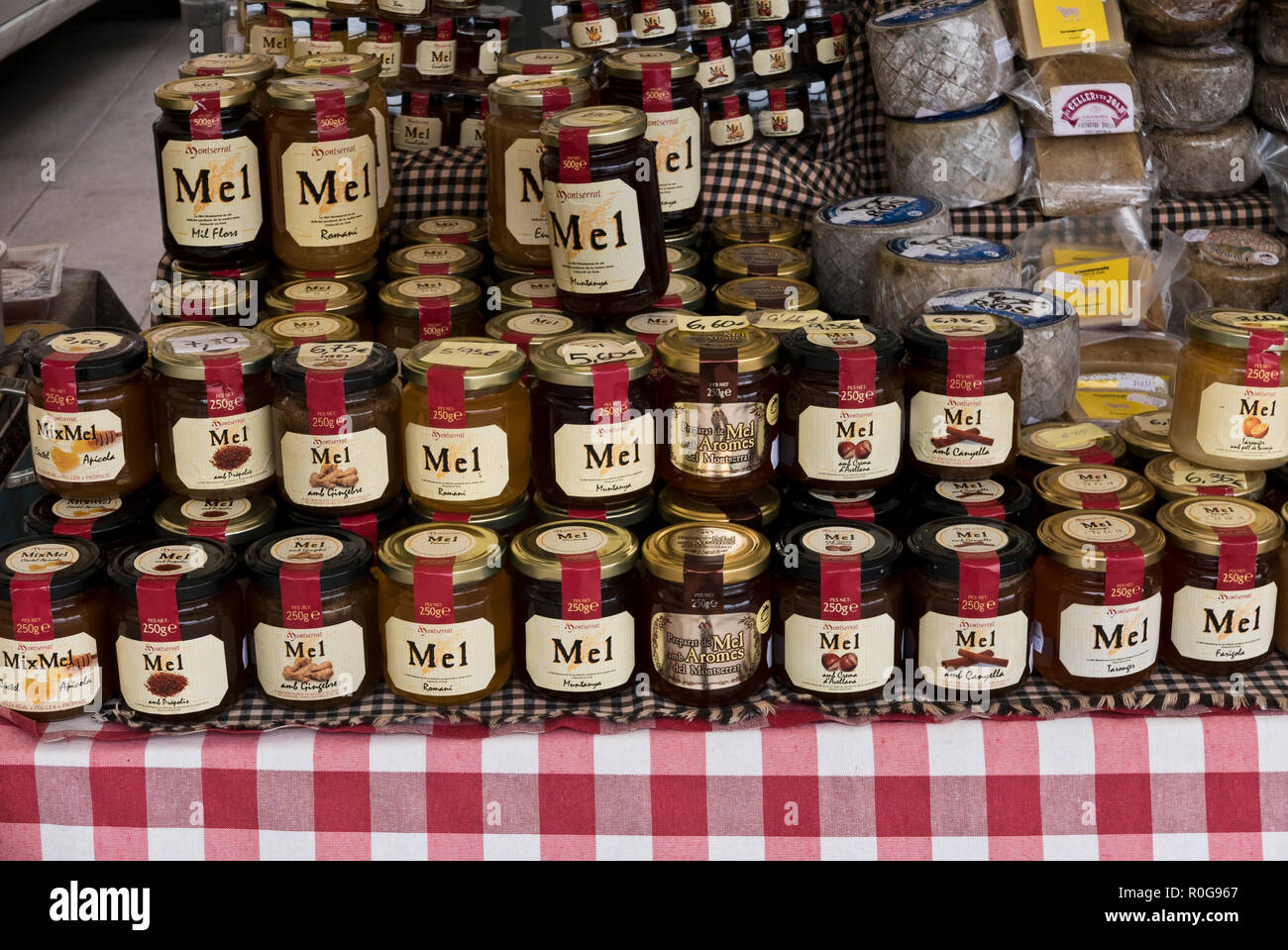Local Produce on sale outside the Monastery walls along the street in Montserrat, Barcelona, Spain Stock Photo