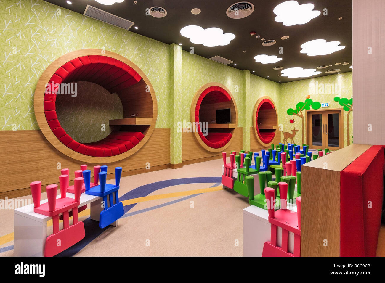 Sochi, Russia - March 5, 2014: Sochi Marriott Hotel nursery room has modern stylish colorful interior and welcomes children of different ages - Stock Image