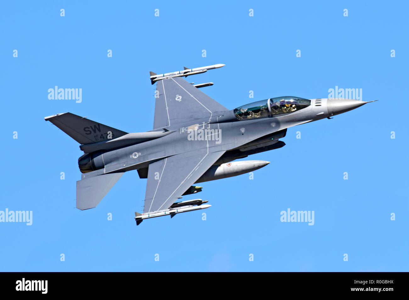 General Dynamics F-16D Fighting Falcon flown by US Air Force 20th FW based at Shaw AFB photographed in Death Valley during 2018 - Stock Image