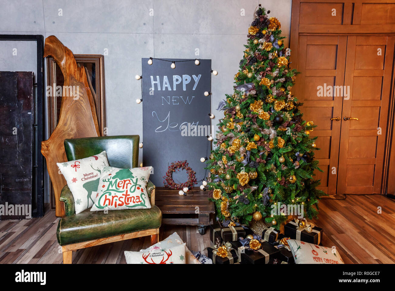 Classic Christmas New Year Decorated Interior Room New
