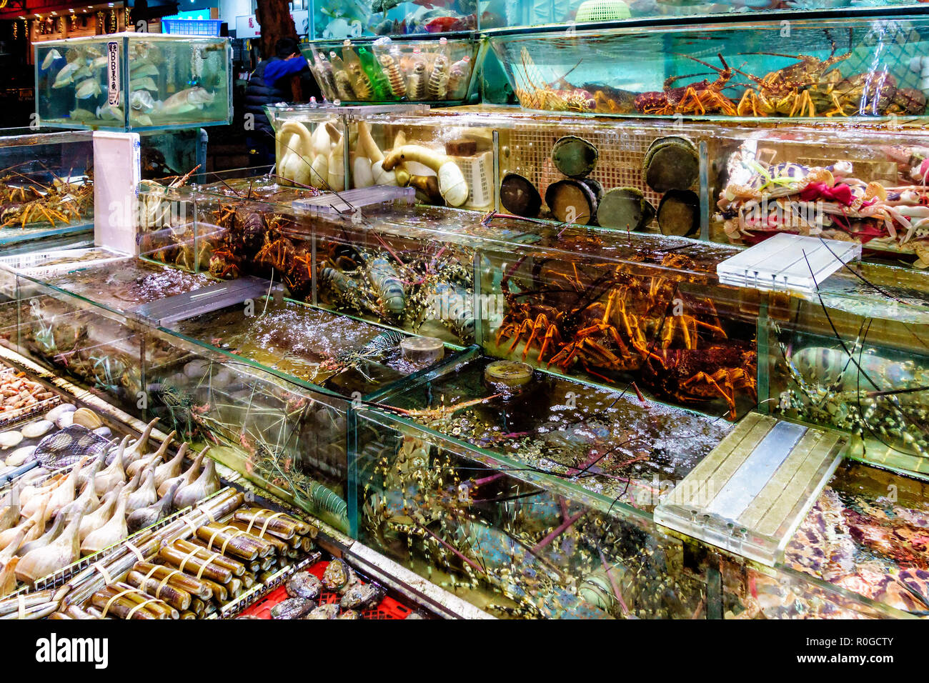 Fresh seafood market in Sai Kung, Hong Kong, abounds with various sea animal species to buy and cook - Stock Image