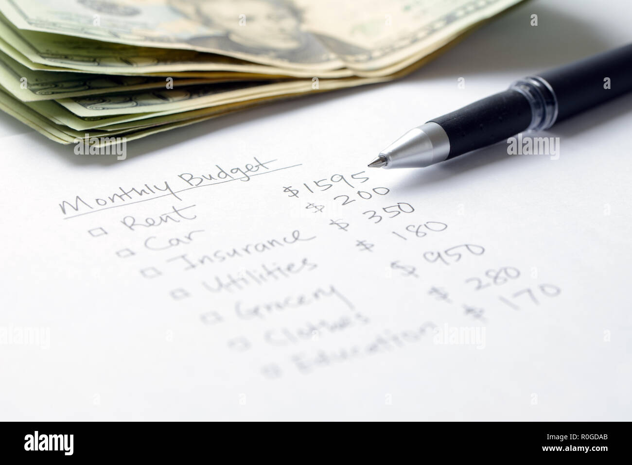Monthly budget planning - Stock Image