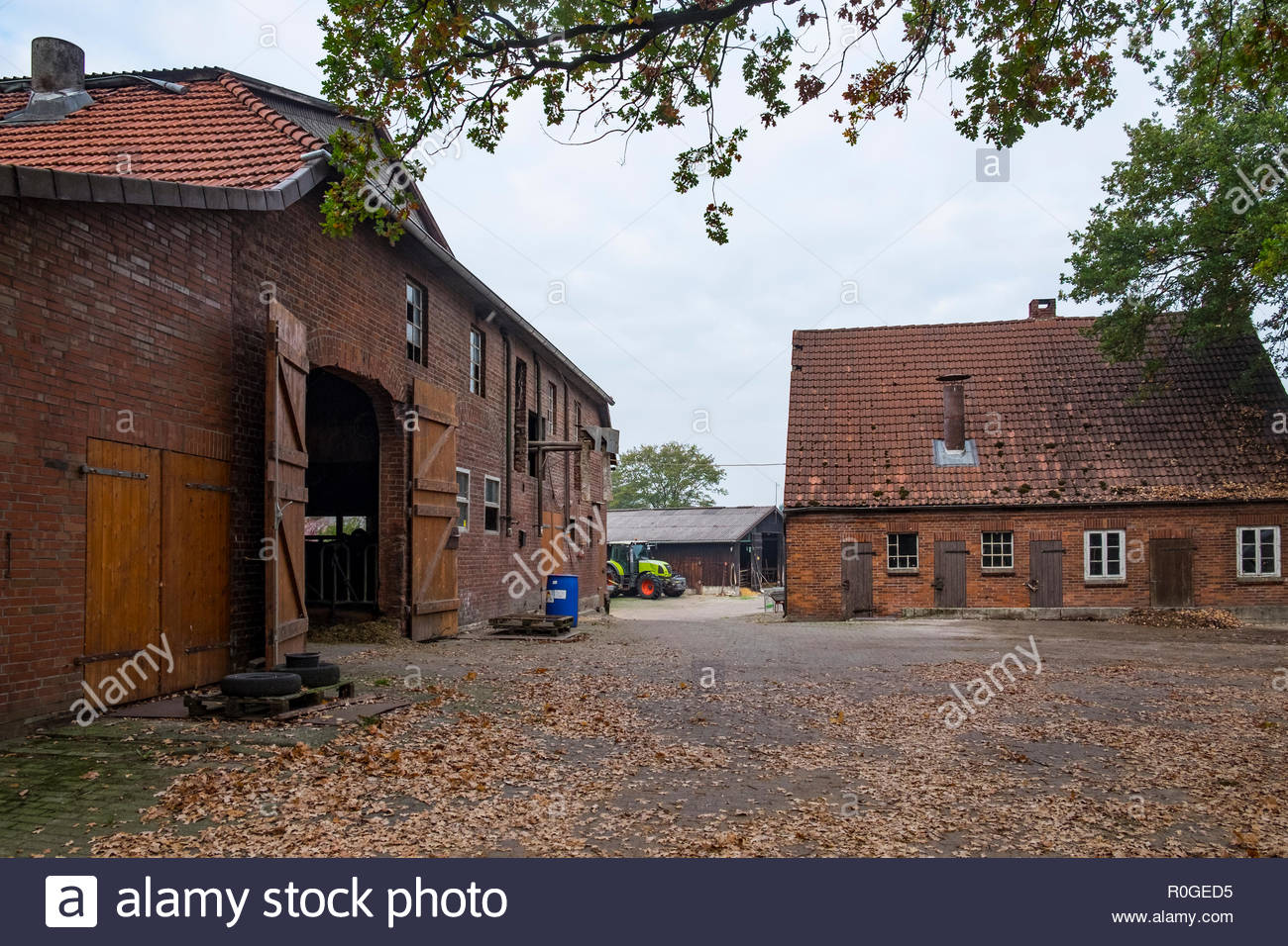 Farm buildings in the village of Lintig, Geestland, in Landkreis Cuxhaven, northern Germany - Stock Image