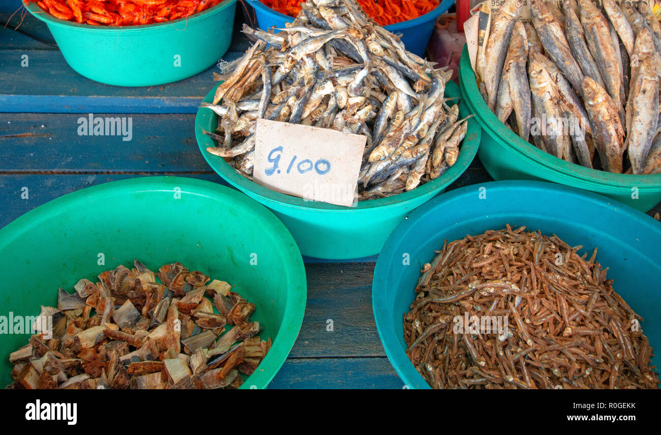 Salted dried and desiccated fish anchovies in food stall in Pettah market in Colombo Sri Lanka Asia - Stock Image