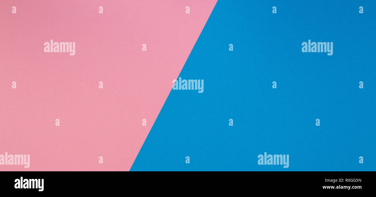 Blue and pink two tone diagonal devided color paper background Stock Photo