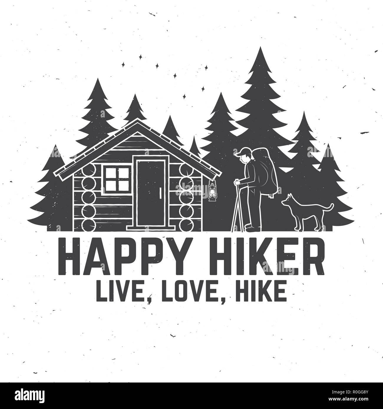 Happy hiker. Live, love, hike. Extreme adventure. Vector illustration. Concept for shirt or print, stamp. Vintage typography design with hiker, dog, forest cabin and forest silhouette on the night - Stock Vector