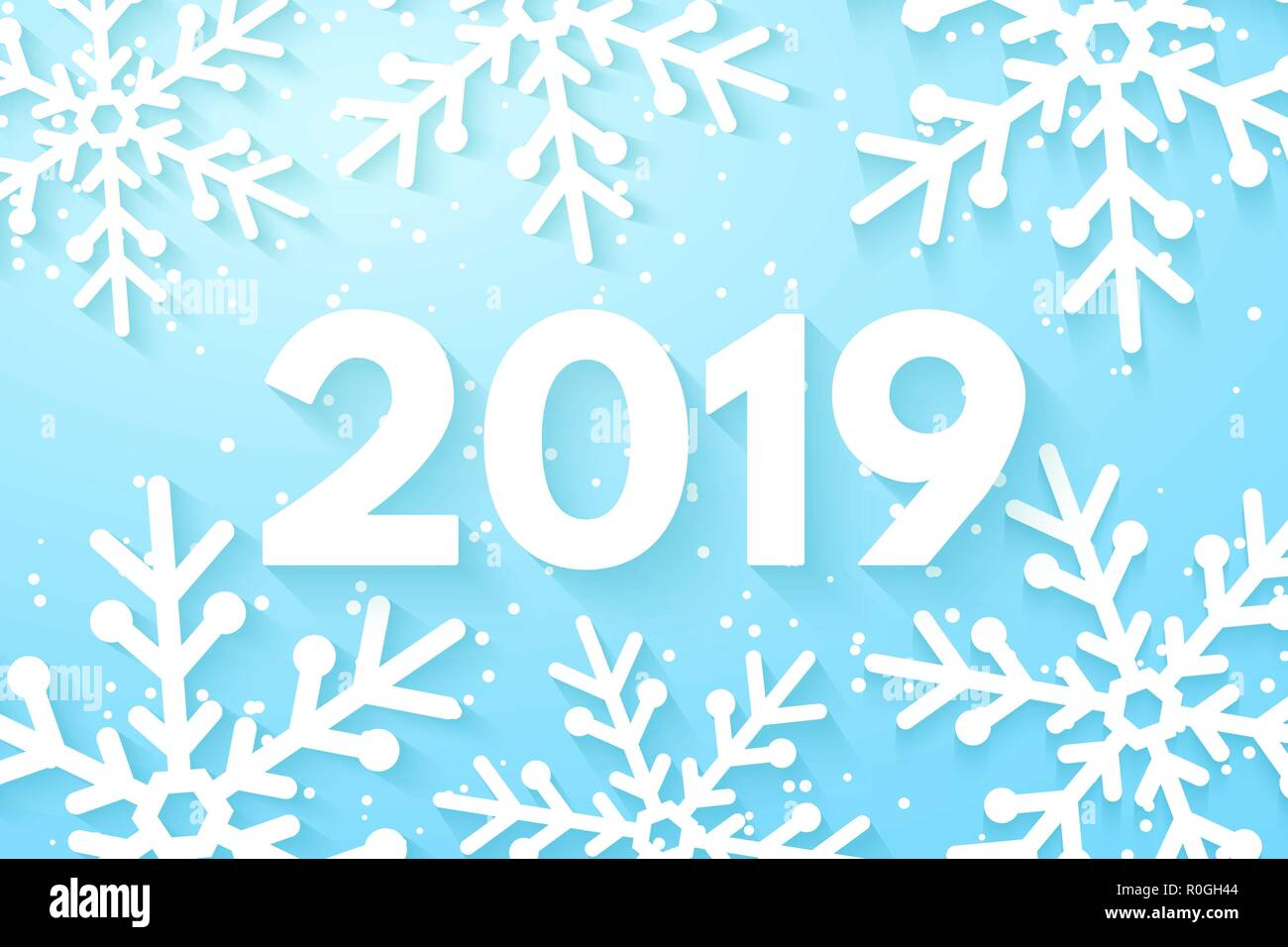 happy new year 2019 background snowflakes cut out of paper merry christmas and happy new year template for your design vector illustration eps 10