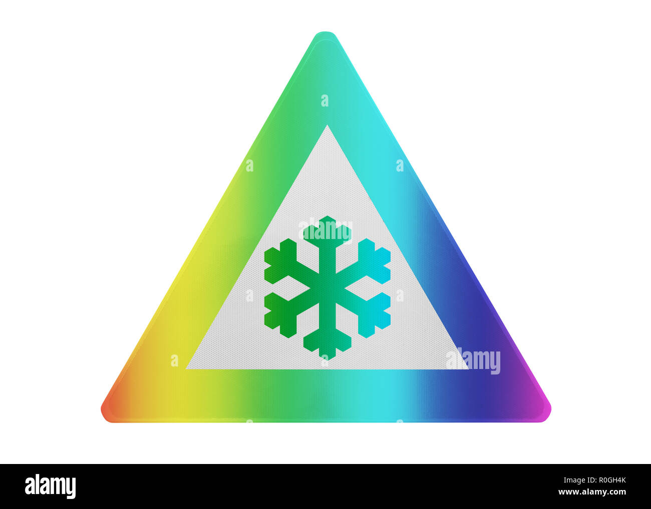 Traffic sign isolated- Snow - Isolated and rainbow colored - Stock Image