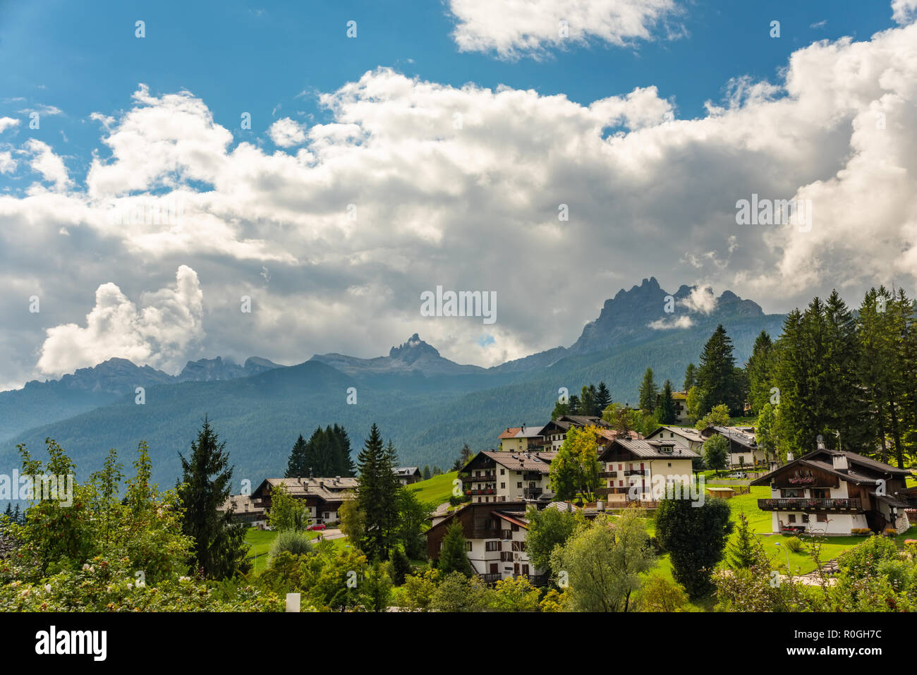 Alpine resort in Dolomites mountains Cortina D Ampezzo,South Tyrol Italy Europe - Stock Image