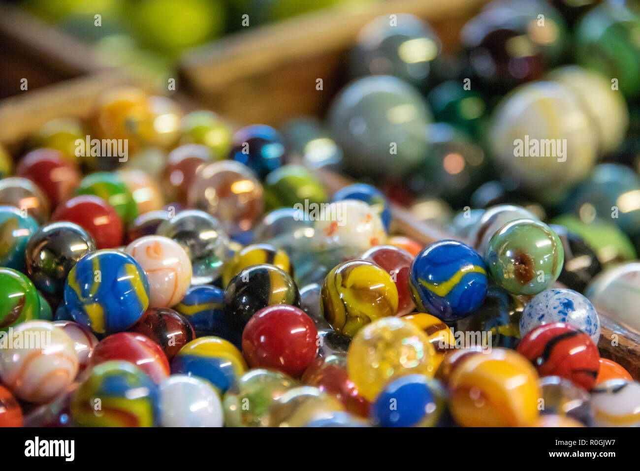 Old-fashioned colorful glass shooter marbles at an old country store in Northeast Georgia. (USA) - Stock Image