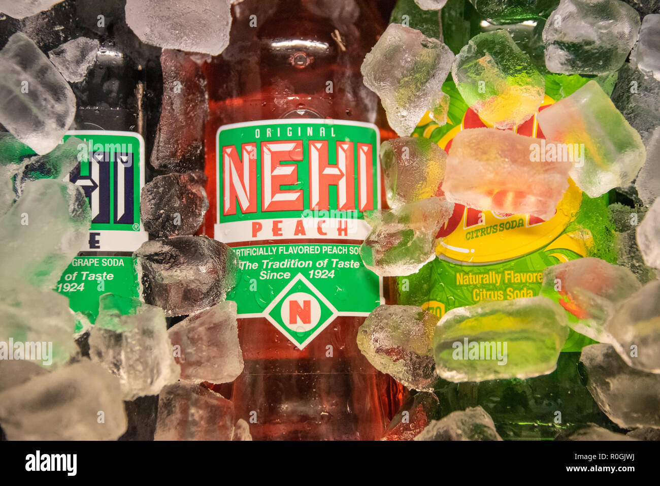 Old-time sodas on ice in a Northeast Georgia old country store. (USA) - Stock Image