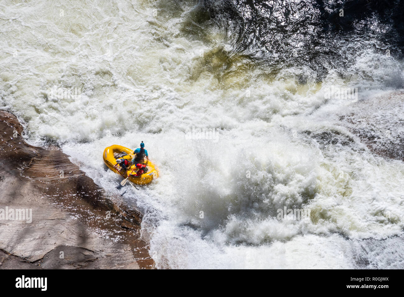 Whitewater rafters in Tallulah Gorge during a whitewater release from the Tallulah Falls Dam in Northeast Georgia. (USA) - Stock Image