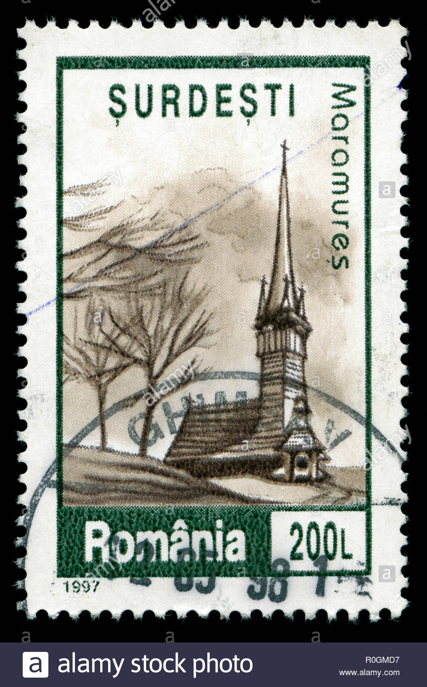 Postage stamp from Romania in the Village Churches in Maramureș series issued in 1997 - Stock Image