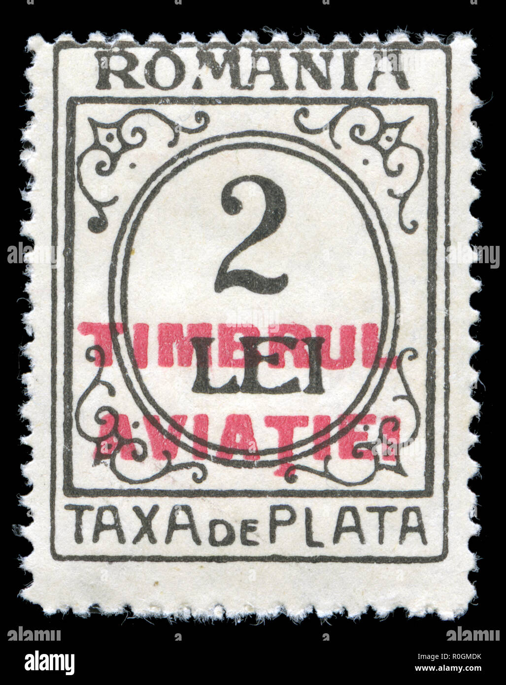 Postage stamp from Romania in the  Numeral Design series issued in 1920 - Stock Image