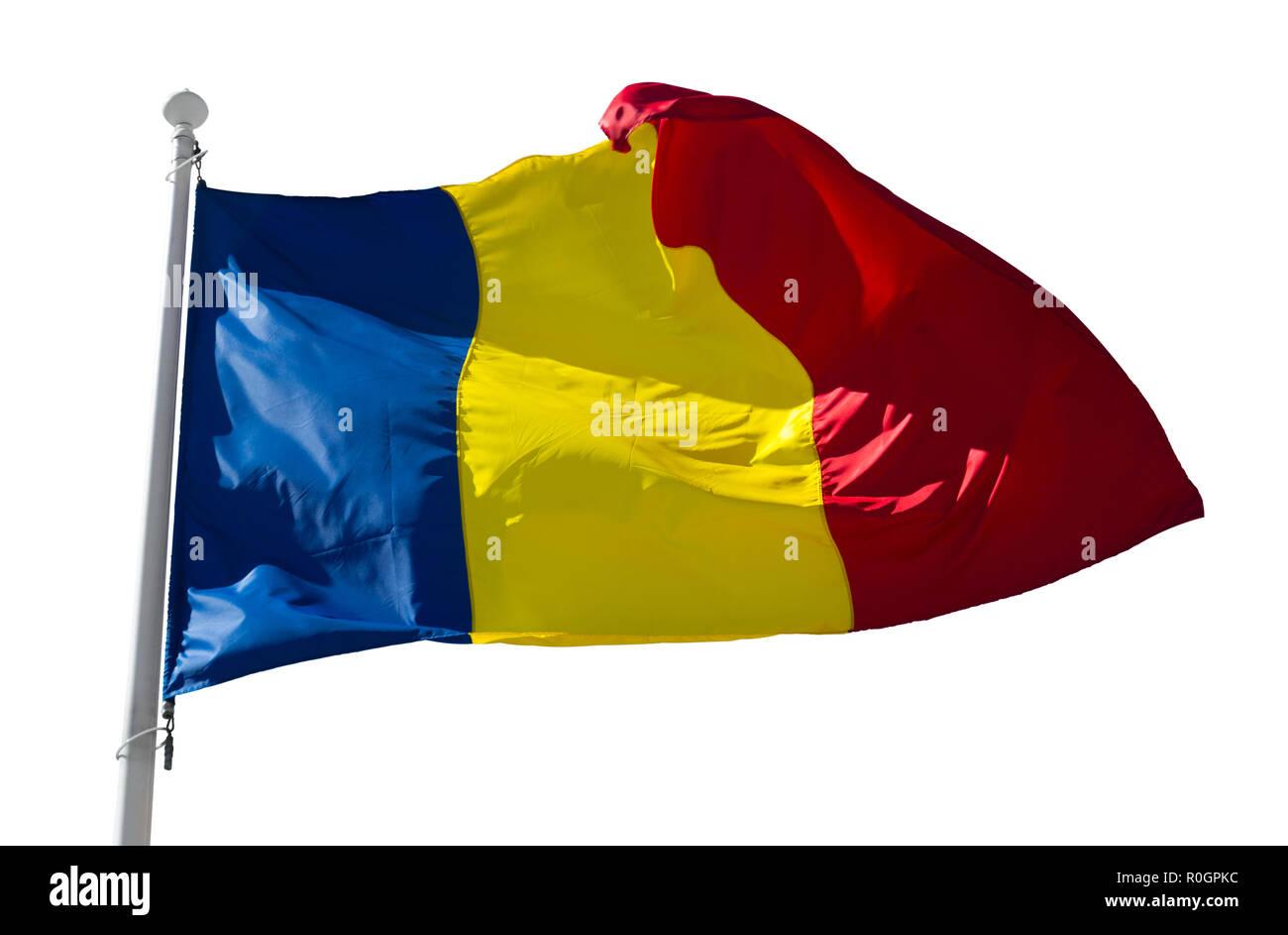 Romanian flag on flagpole waving isolated on white background - Stock Image