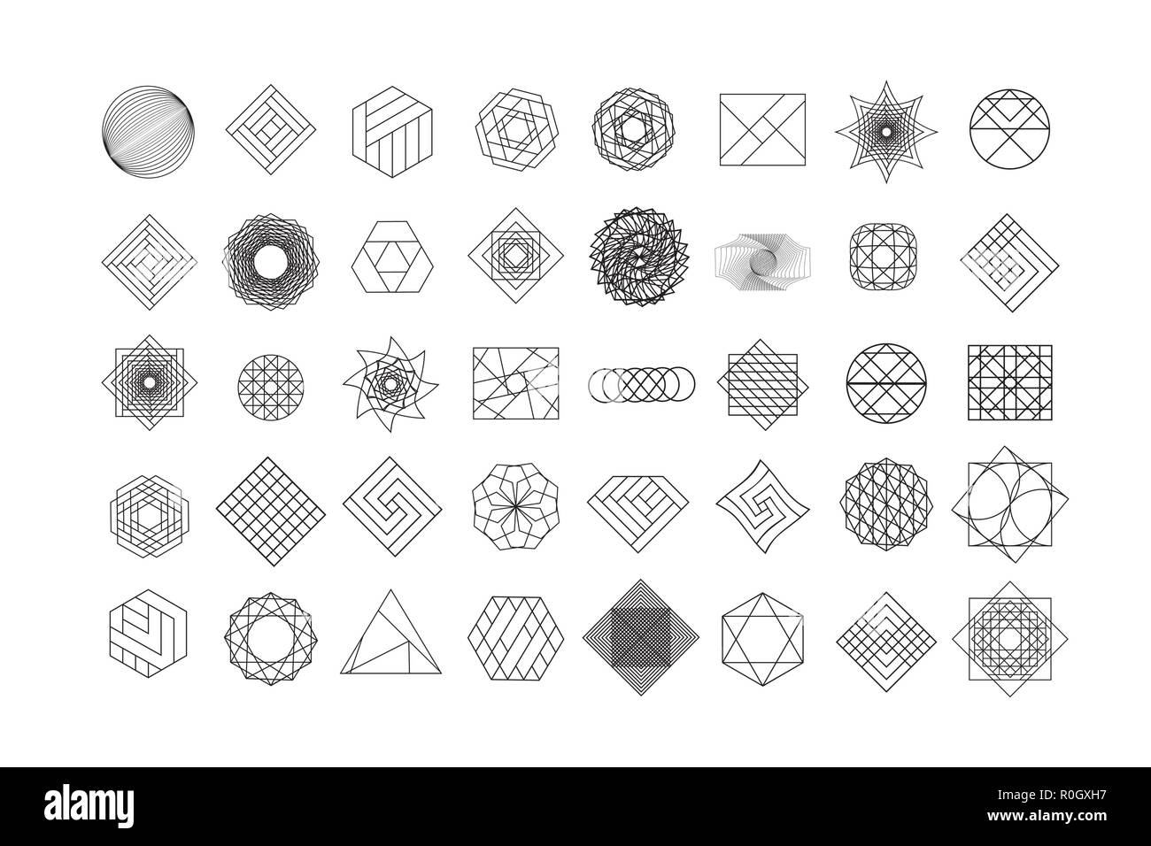 Set of geometric shapes. Trendy hipster background and logotypes. Religion, philosophy, spirituality, occultism symbols collection - Stock Vector