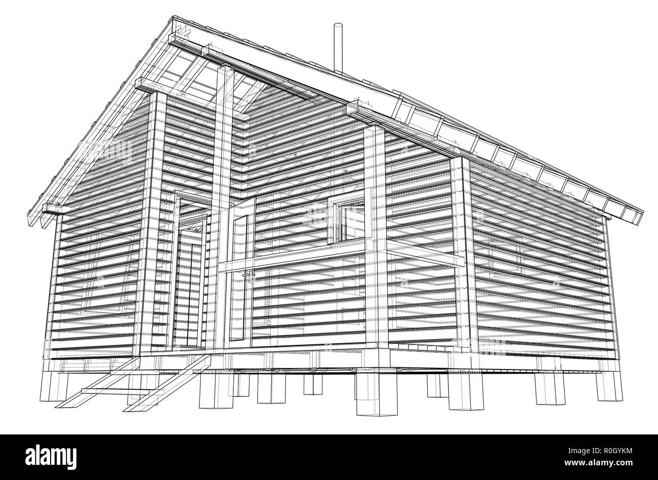 Sketch of small house. Vector rendering of 3d Stock Vector