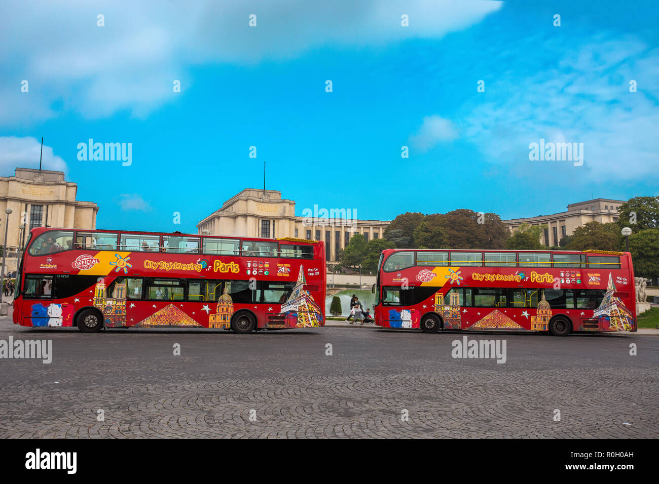 PARIS, FRANCE, SEPTEMBER 5, 2018 - View of Citysightseeing Bus in Paris, France, in a sunny day with blue sky. - Stock Image
