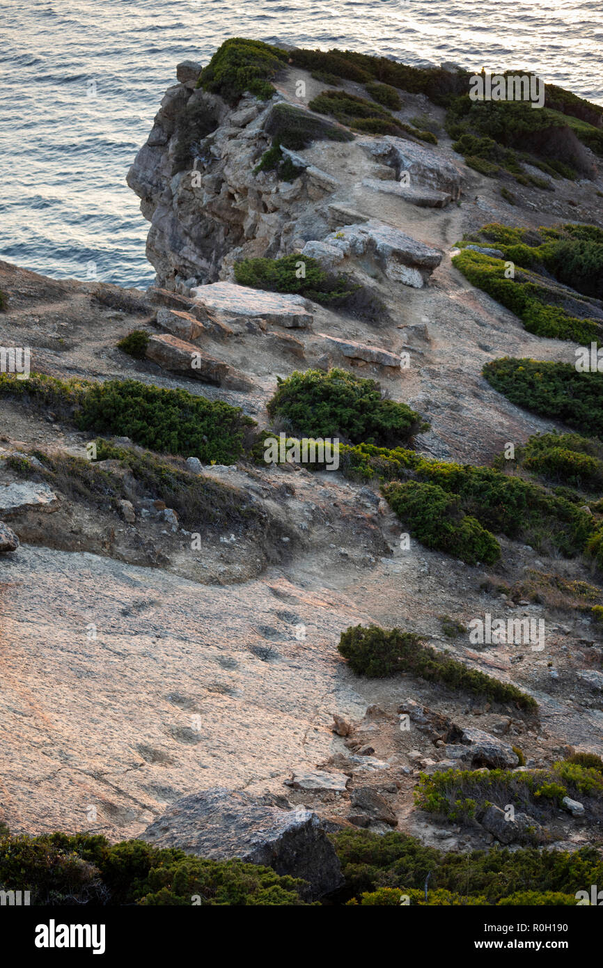 Monumento Natural dos Lagosteiros showing footprints of sauropods, Cabo Espichel, Municipality of Sesimbra, Setubal district, Lisbon region, Portugal - Stock Image