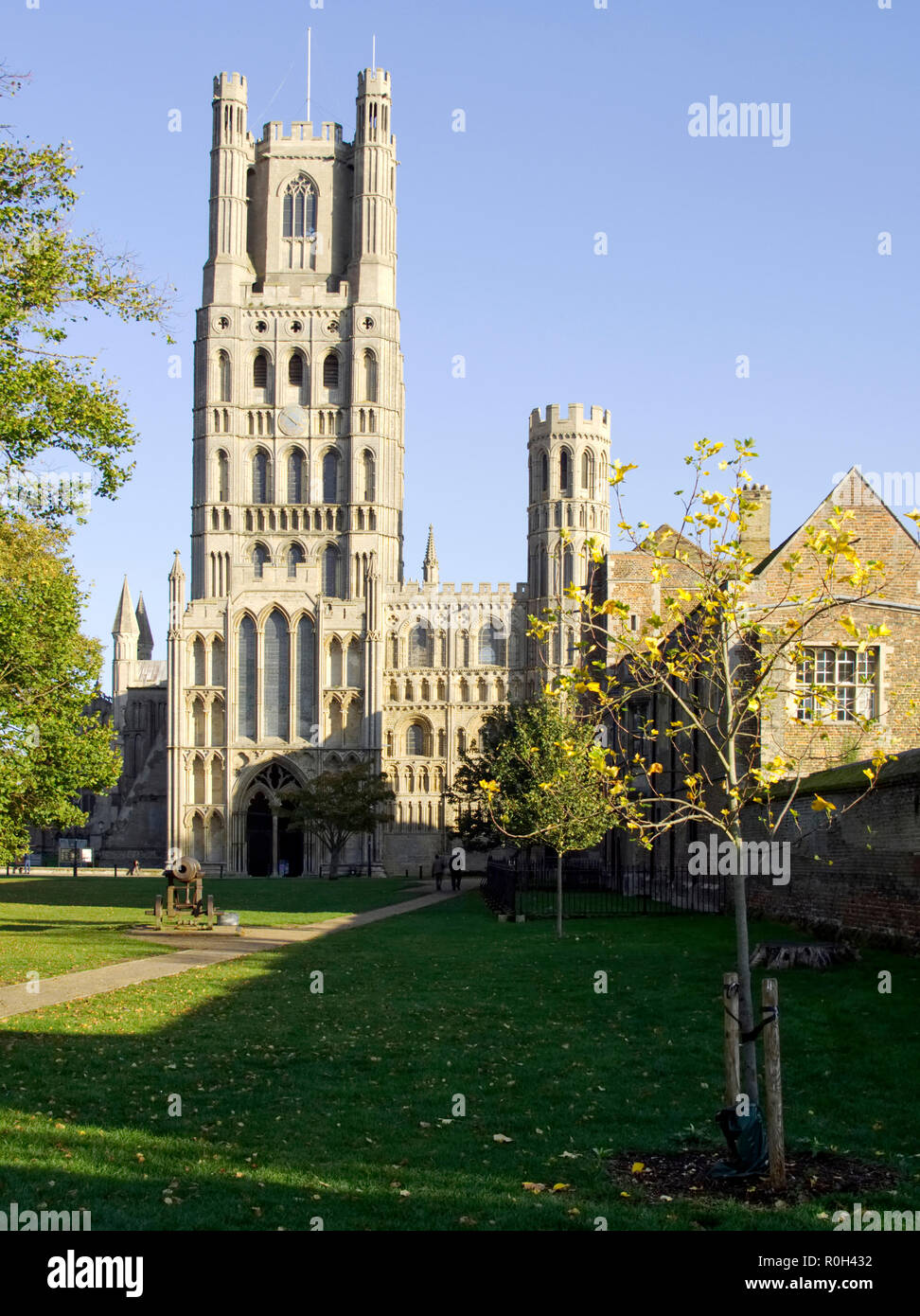 The west tower of Ely Cathedral in Cambridgeshire a medieval structure restored in the Victorian period.. Seen form the south-east of the cathedral. Stock Photo