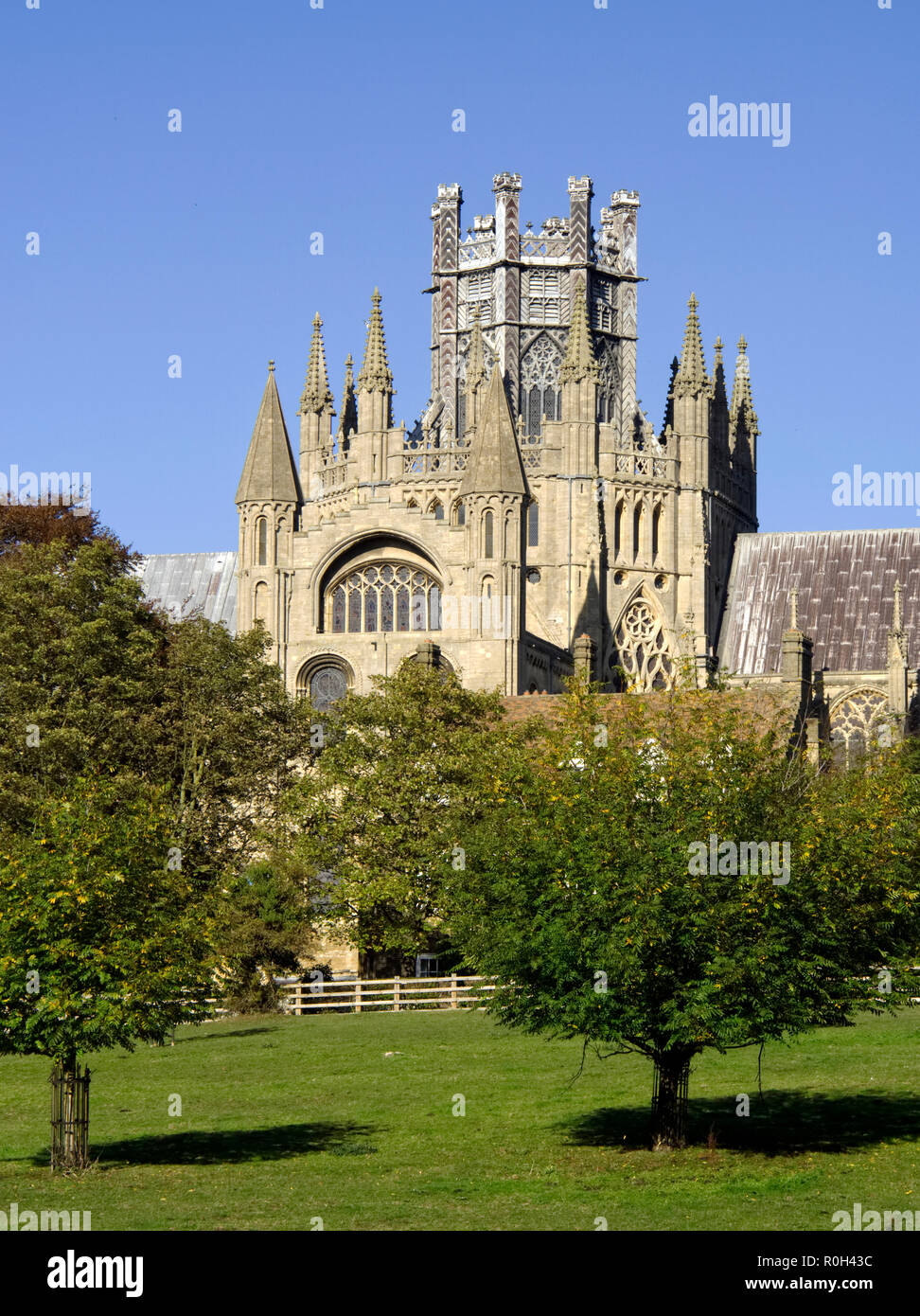 View of the magnificent Ely Cathedral in Ely, Cambridgeshire from The Deans Meadow showing the Gothic splendour ot this medieval masterpiece. Stock Photo