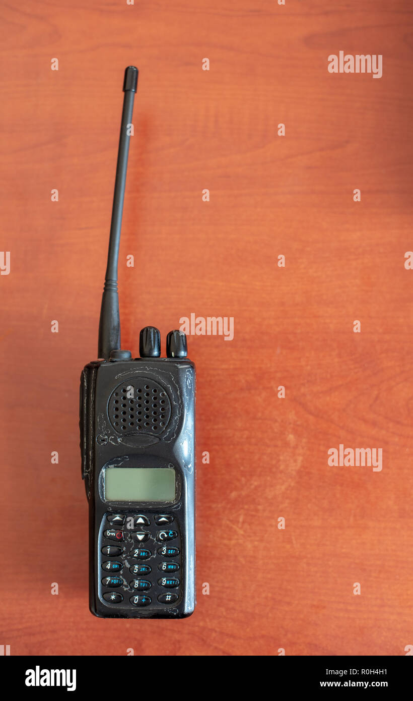 Old Walkie Talkie Isolated On Red Backgroundwith Shadow