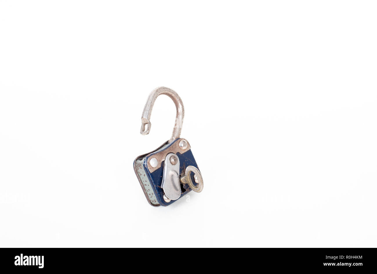 Vintage rusty padlock and key  isolated on white background with copy space Stock Photo