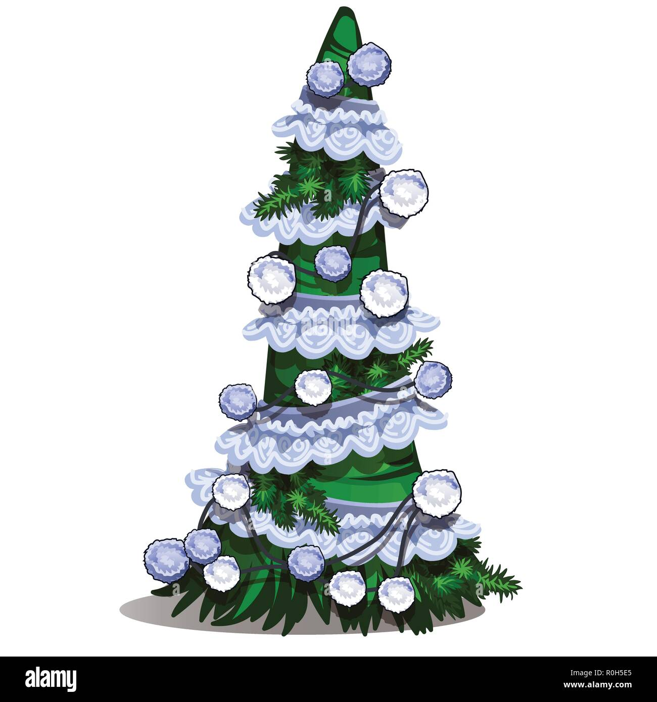 Cartoon Topiary In The Form Of A Cone Christmas Tree With Bauble White Lace Ribbon And Pompons Sketch For Greeting Card Festive Poster Party Invitation Attribute Of Christmas And New Year Vector
