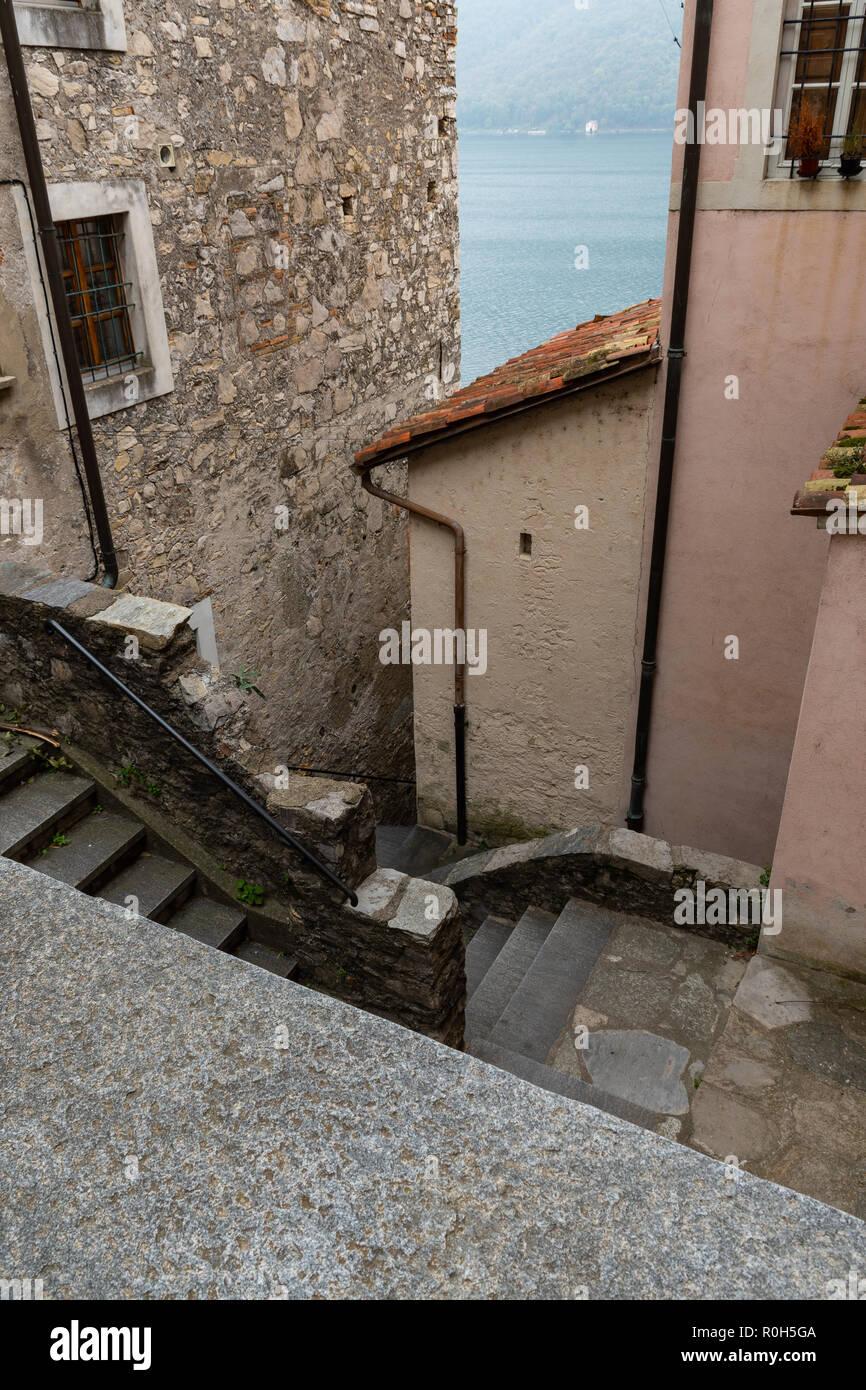 The village of Gandria - views / Das Dorf Gandria - Ansichten / Il villaggio di Gandria - vedute - Stock Image