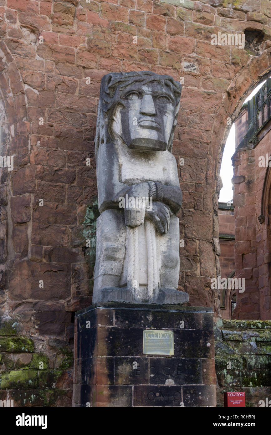 Ecce Homo, a statue by Jacob Epstein, in the ruins of the old Coventry Cathedral, Warwickshire, UK - Stock Image