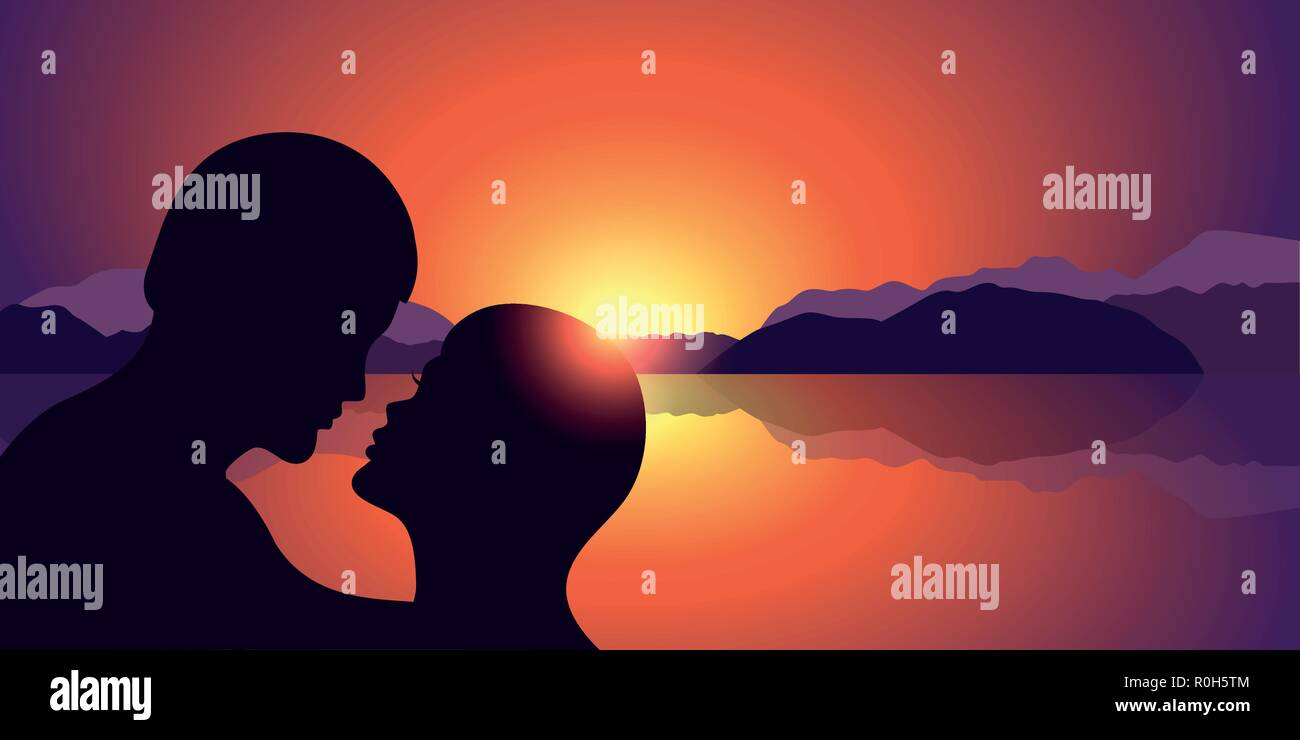 romantic kiss silhouette at beautiful sunset lake and mountain landscape background vector illustration EPS10 - Stock Vector
