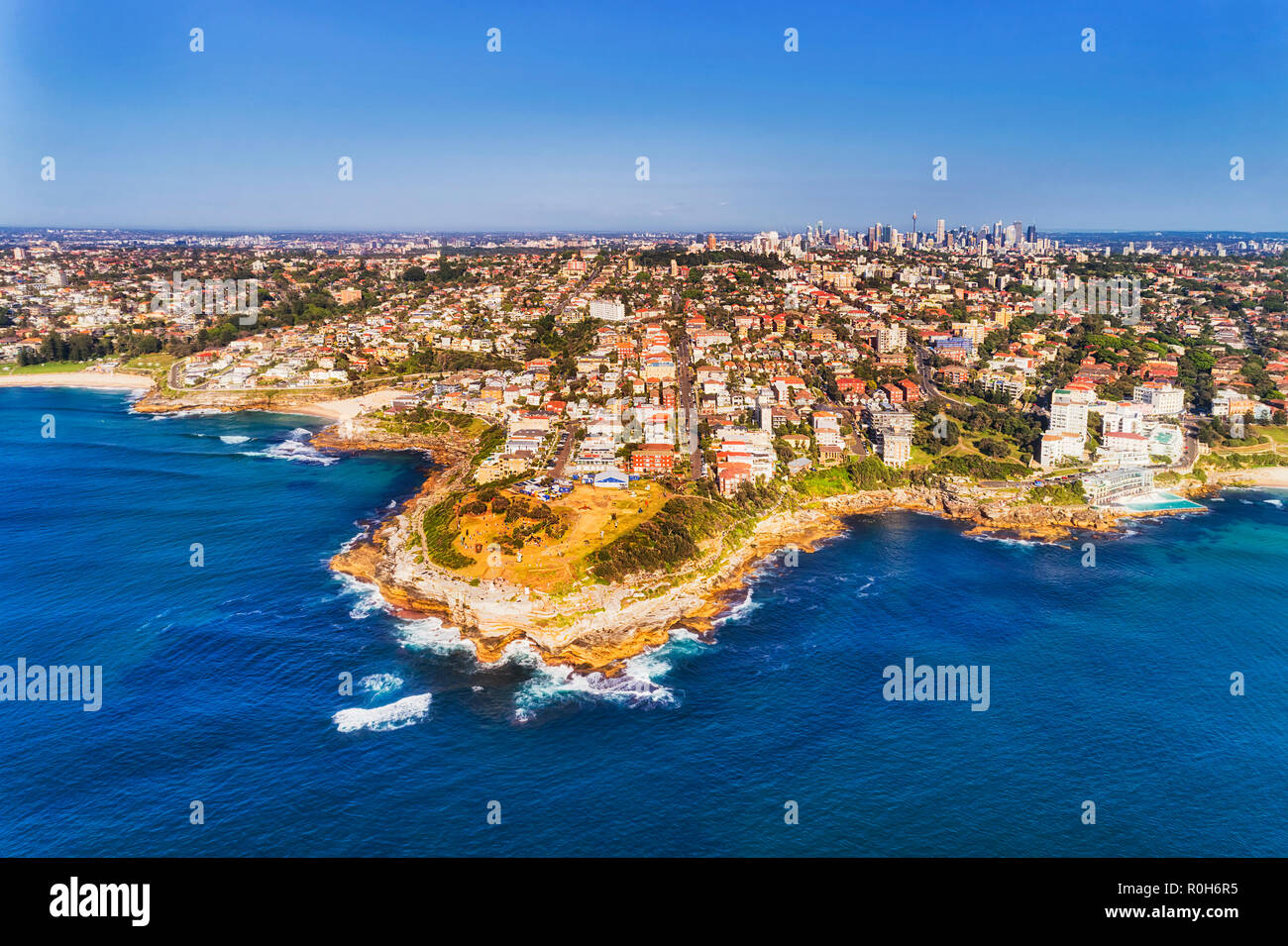 Mackenzies point and Marks park traditional venue for annual sculpture by the sea tourist attraction in Sydney Eastern Suburbs near Bondi beach. - Stock Image