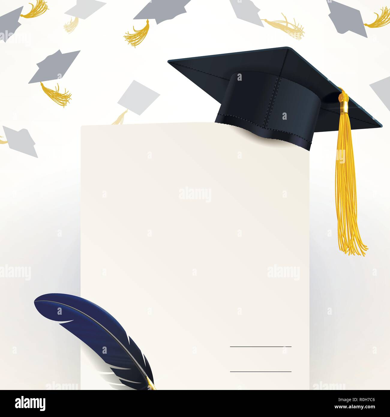 diploma of graduation and graduate cap on a light background - Stock Vector