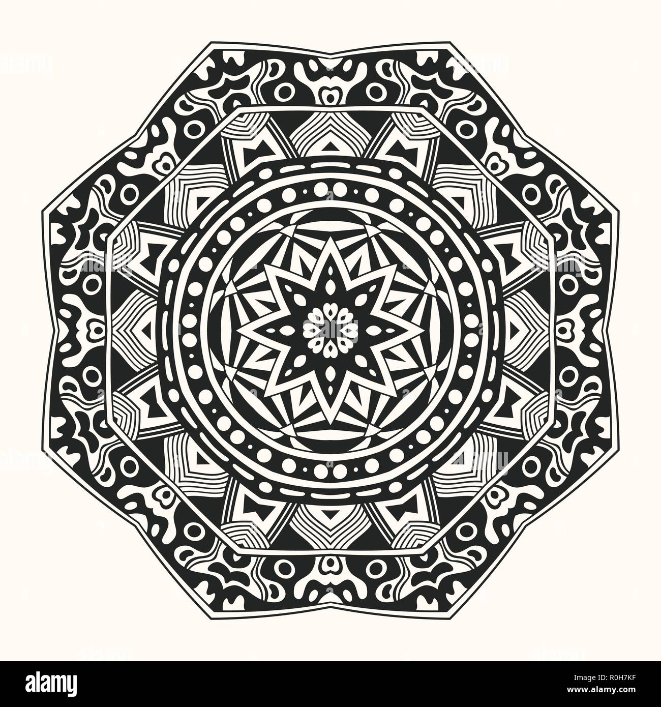 Vector Zentangle Template Creative Circular Ornament Round Symmetrical Pattern Decorative Mandala Floral Decoration Arabic Indian