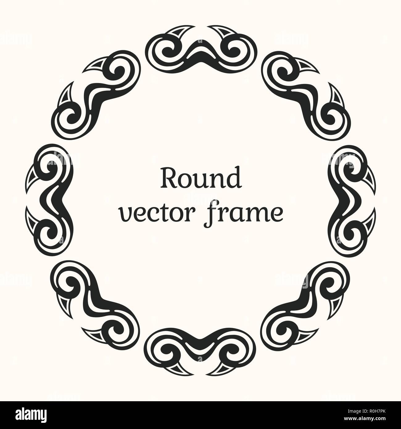 elegant luxury frame with ornate borders stylish round ornament
