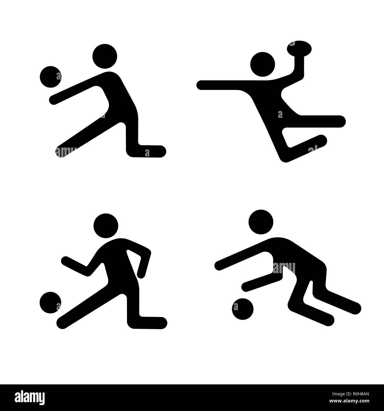 Sport vector icons set, ball games logo, shape athlete person. Black badges football, basketball, volleyball and various ball games isolated on white  - Stock Vector