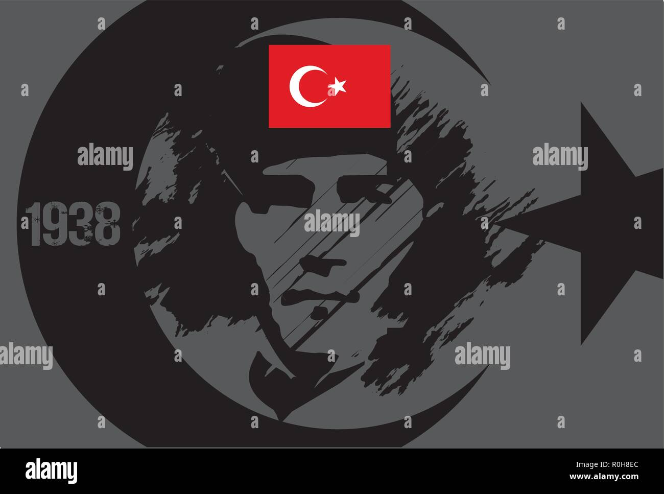 10 November, Mustafa Kemal Ataturk Death Day anniversary. (First president of Turkish Republic.) Vector illustration. - Stock Vector