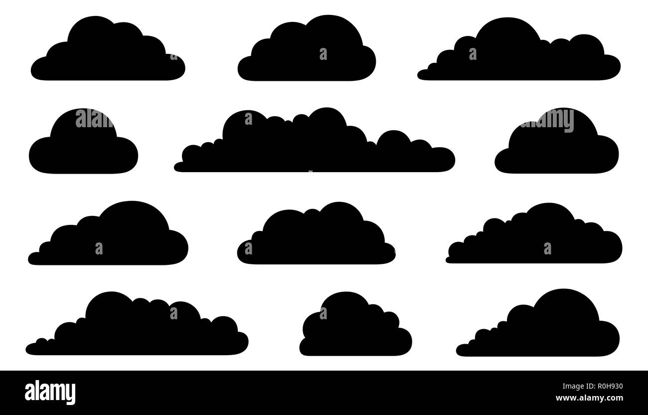 Set of different clouds isolated on white - Stock Image