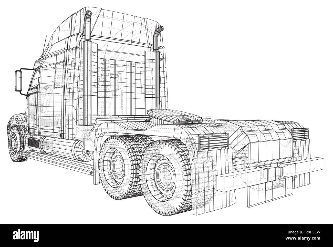 commercial delivery cargo truck vector for brand identity and advertising isolated created illustration of 3d wire frame R0H9CW commercial delivery cargo truck vector for brand identity and