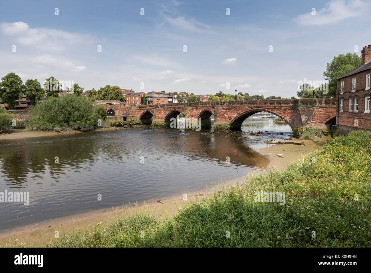Old Dee Bridge over the river Dee in Chester, Cheshire, England, UK Stock Photo