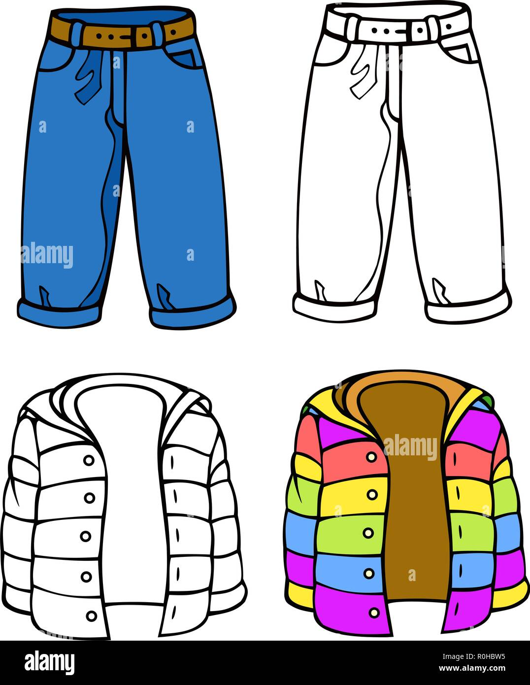 Eighties style teen clothing, cuff jeans and puffy jacket.  comes with bonus black outline versions. - Stock Vector